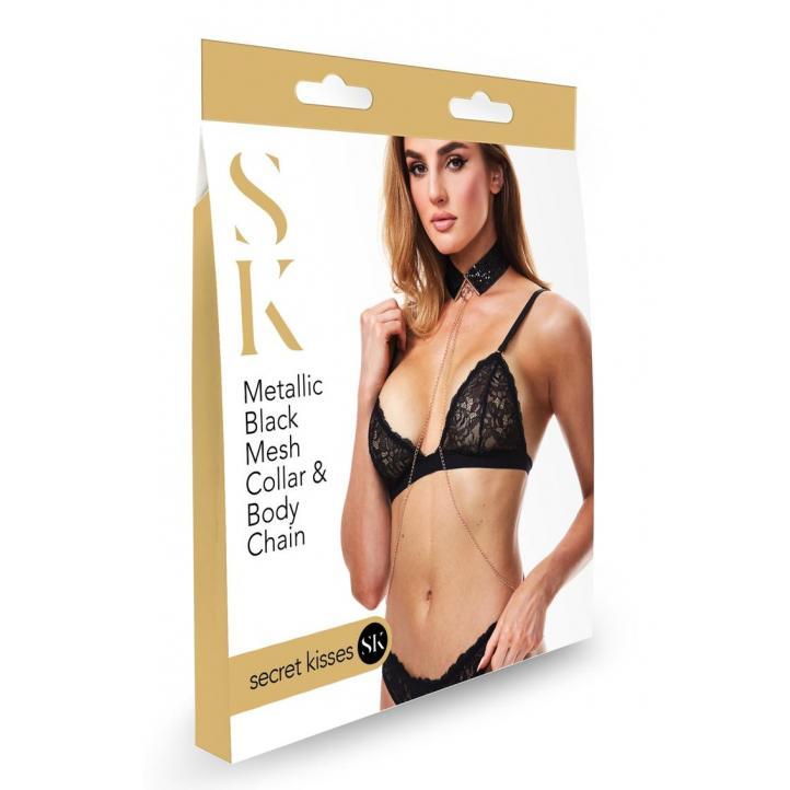 Secret Kisses Metallic Black Mesh Collar and Body Chain SK 1007 884472024821 Boxview