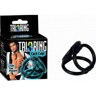Seven Creations Tri Ring 3 Ring Cock Ring Cage Black 2K492 4890888116377 Multiview