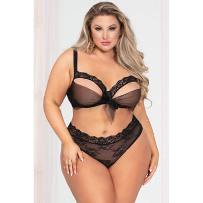 Seven Til Midnight Bowed Over Bra and Panty Set OSQ Plus Size Black 11051XPBLK 840091702038 Front Detail