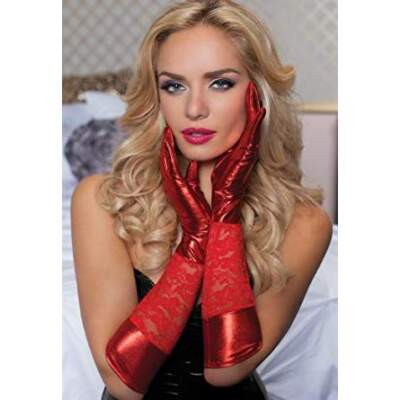 Seven Til Midnight Lace Lame Gloves Red STM-40113-RED-OS 815364488841