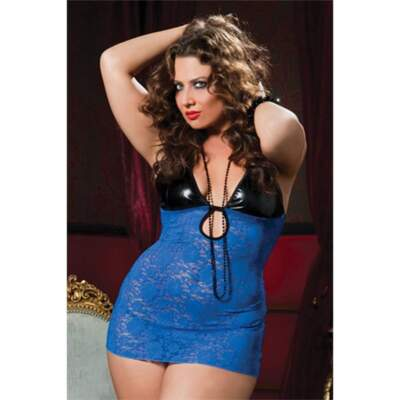 Seven Til Midnight Life in the fast lane chemise Blue Queen Size STM-9424-XP 815364450824