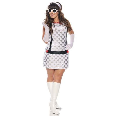 Seven Til Midnight Miss Mod Costume White 1X 2X STM 10284X 815364436965 Front Detail