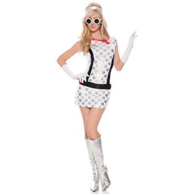 Seven Til Midnight Miss Mod Costume White SML STM 10284 Front Detail