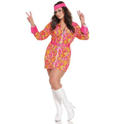 Seven Til Midnight Retro Hippie Costume 3pc Plus Size STM 10303X Front Detail
