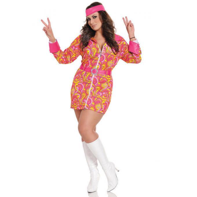 Seven Til Midnight Retro Hippie Costume 3pc Plus Size STM 10303X Front Detail