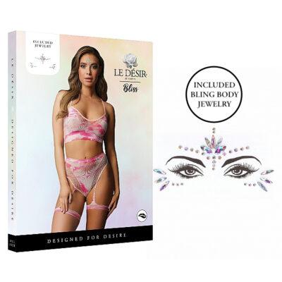 Shots Le Desir Bliss 2 Pc Tie Dye Bra Set with Garters Dazzling Eye Contact Bling Sticker OS Tie Dye Multicoloured BLS004MULOS 7423522446485 Multiview