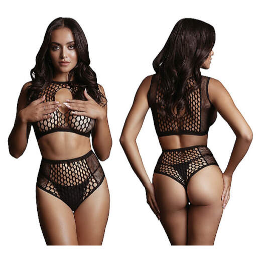 Shots Le Desir Fishnet and Fencenet 2 Piece Set OSFM DES027BLKOS 8714273495495 Detail