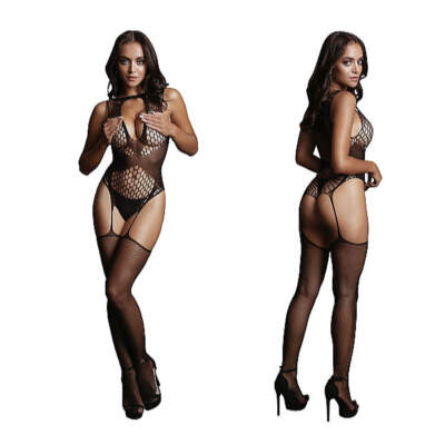 Shots Le Desir Fishnet and Fencenet Bodystocking OSFM DES028BLKOS 8714273495501 Detail