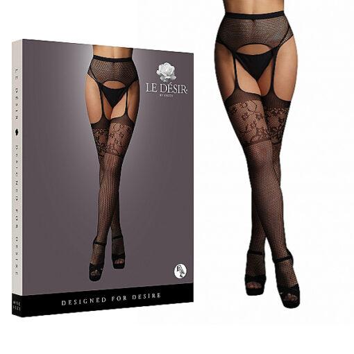 Shots Le Desir Garterbelt Stockings with Lace Top OS Black DES053BLKOS 7423522456415 Multiview