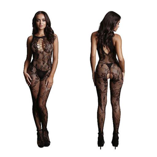 Shots Le Desir High Neck Lace Pattern Bodystocking OSFM DES023BLKOS 8714273495457 Detail