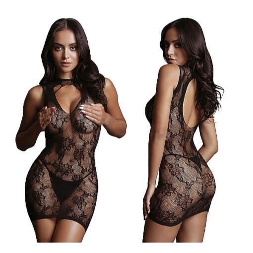 Shots Le Desir High Open Neck Lace Mini Dress OSFM DES031BLKOS 8714273495532 Detail