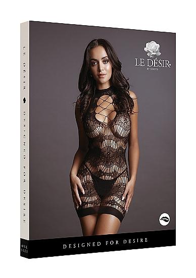 Shots Le Desir Lace Pattern Mini Dress OSFM DES016BLKOS 8714273495389 Boxview
