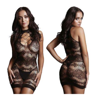 Shots Le Desir Lace Pattern Mini Dress OSFM DES016BLKOS 8714273495389 Detail