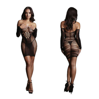 Shots Le Desir Long Sleeved Net Mini Dress OSFM DES017BLKOS 8714273495396 Detail