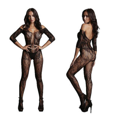 Shots Le Desir Long Sleeved and Lace Bodystocking OSFM DES033BLKOS 8714273495556 Detail