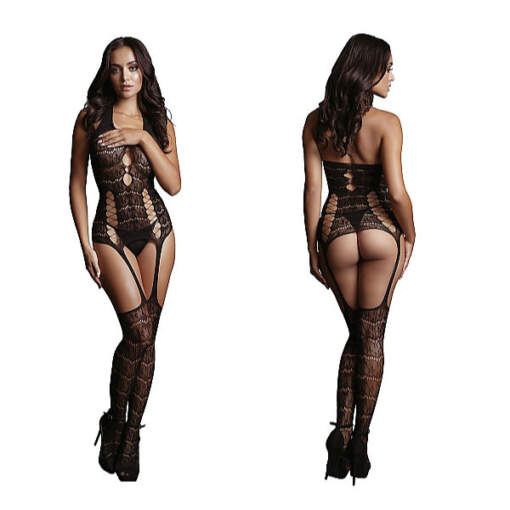 Shots Le Desir Opaque Suspender Bodystocking OSFM DES014BLKOS 8714273495365 Detail