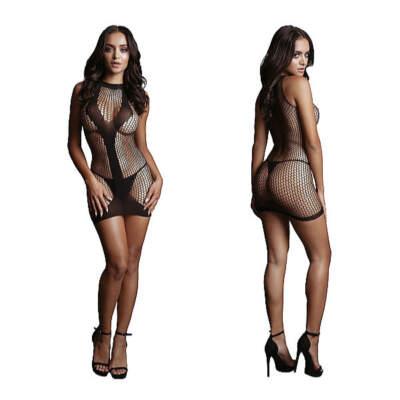 Shots Le Desir Opaque V Shape Net Mini Dress OSFM DES015BLKOS 8714273495372 Detail