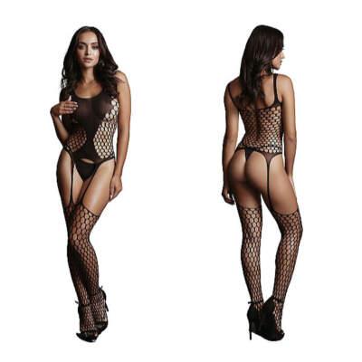 Shots Le Desir Suspender Net Pattern Bodystocking OSFM DES020BLKOS 8714273495426 Detail