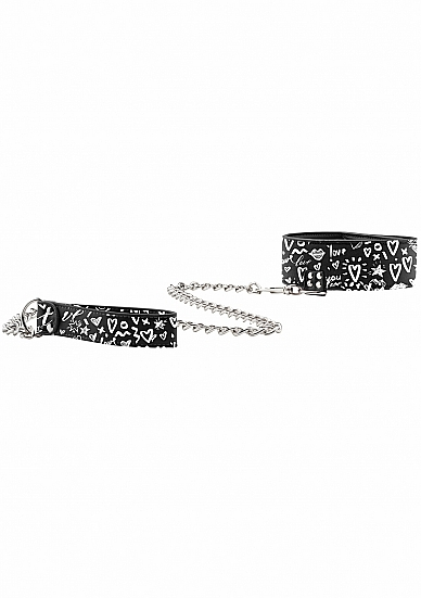 Shots Ouch Graffiti Collar with Leash OU333BLK 8714273549174