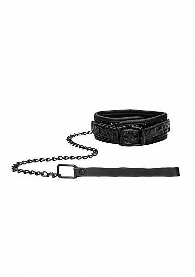 Shots Ouch Luxury Collar with Leash Black OU343BLK 8714273525253 Detail