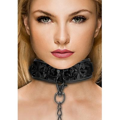 Shots Ouch Luxury Collar with Leash Black OU343BLK 8714273525253 Model Detail