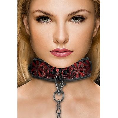 Shots Ouch Luxury Collar with Leash Burgundy OU343BUR 8714273928634 Model Detail