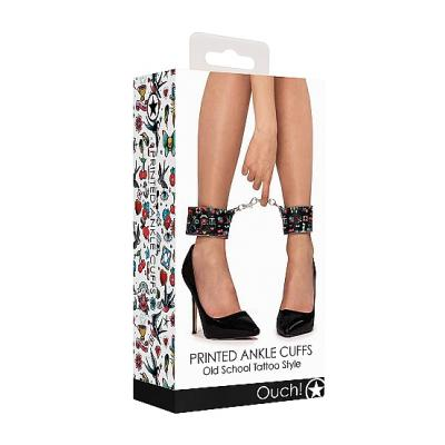 Shots Ouch Old School Tattoo Style Ankle Cuffs OU447BLK 8714273491640 Boxview
