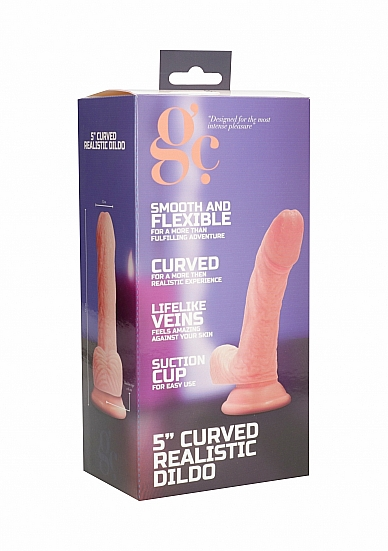 Shots Toys GC 5 inch curved realistic dildo with balls flesh GC020FLE 8714273928399