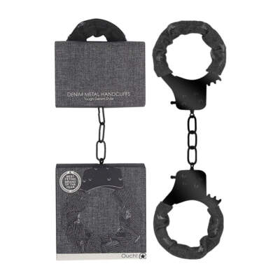 Shots Toys Ouch Denim Metal Handcuffs Black Denim OU473BLK 8714273542755 Multiview