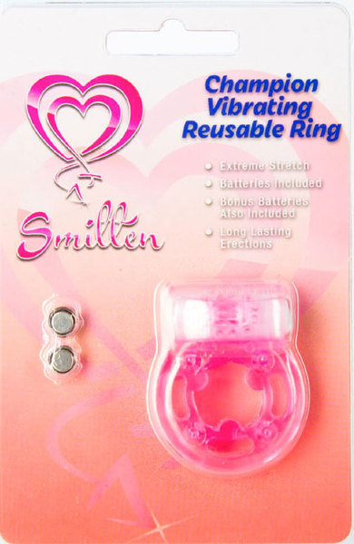 Smitten Champion Reusable Vibrating Ring Cock RIng Pink DS909 11 752830477780 Boxview