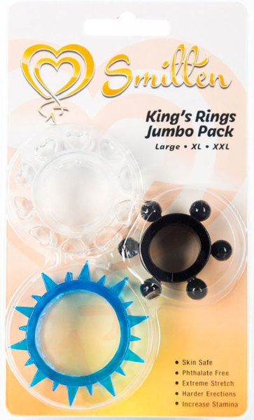 Smitten Kings Rings Jumbo Pack Cock Ring 3 Pack DS910 00 752830477988 Boxview