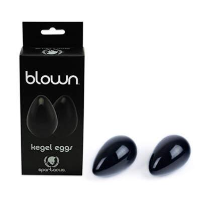 Spartacus Blown Glass Kegel Eggs Black BSPG B12BK 669729901267 Multiview