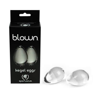 Spartacus Blown Glass Kegel Eggs Clear BSPG B12C 669729901250 Multiview