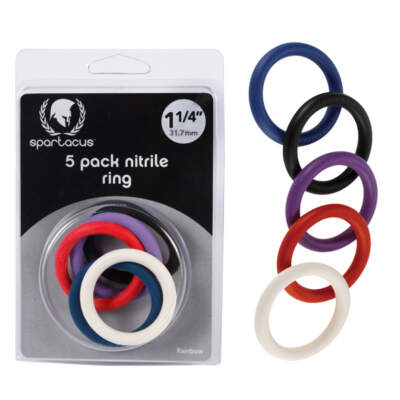 Spartacus Nitrile Cock Rings 1.25 Inch Multicoloured BSPR76 669729410769 Multiview
