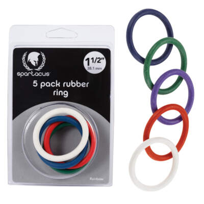 Spartacus Rubber Cock Rings 1.5 Inch Multicoloured BSPR47 669729410479 Multiview