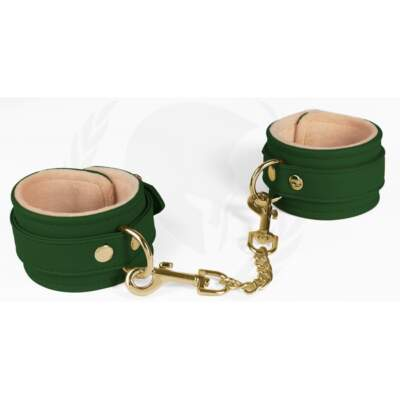 Spartacus Vegan Fetish Plush Lined Wrist Cuffs Green SPU 504GR 669729000304 Detail
