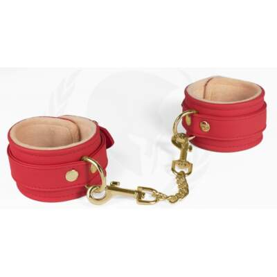 Spartacus Vegan Fetish Plush Lined Wrist Cuffs Red SPU 504RD 669729000199 Detail