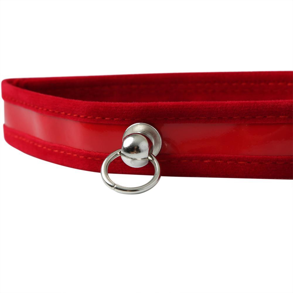 Sportsheets Sex and Mischief Red Day Collar Red SS09941 646709099411 D Ring Detail