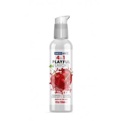 Swiss Navy 4 in 1 Playful Flavours Poppin Wild Cherry Flavoured Lubricant 118ml SN4N1FPWC4 699439005559 Boxview