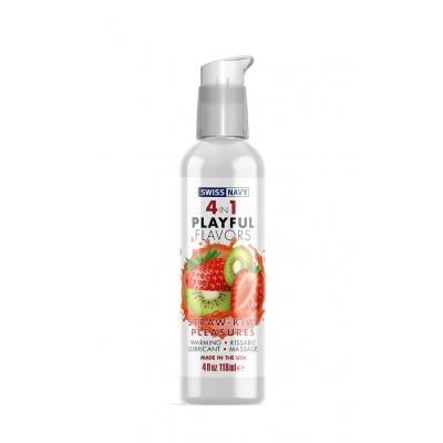 Swiss Navy 4 in 1 Playful Flavours Straw Kiwi Pleasures Flavoured Lubricant 118ml SN4N1FSKP4 699439005580 Boxview