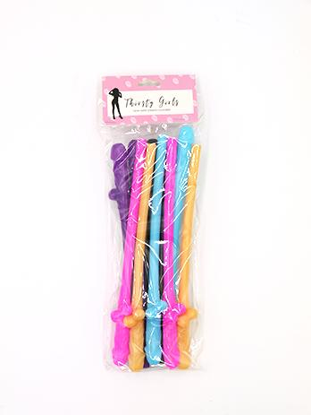 Thirsty Girls Coloured Dicky Sipping Straws 10 Pack Penis Straws TG001 9354434000459 Detail
