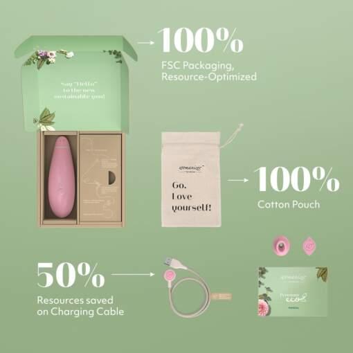 Womanizer Premium Eco Clitoral Stimulator Light Pink WOMPREMECOPK 4251460603645 Box Contents Detail