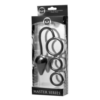 XR Brands Master Series Triple Threat 3 Ring Cock Ring and Butt Plug Black AE321 848518018298 Boxview