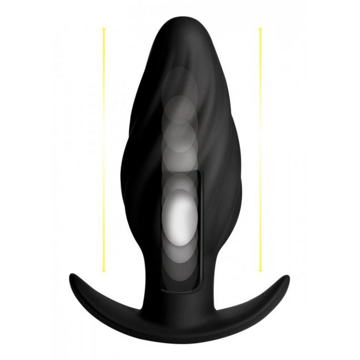 XR Brands Thump It Swirled Thumping Wireless Remote Anal Plug Black AG290 848518034991 Action Detail
