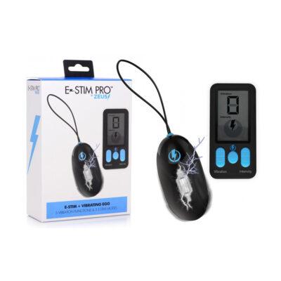 XR Brands Zeus Electrosex Wireless Remote Vibrating Electrostimulation Egg Black AG662 848518042620 Multiview
