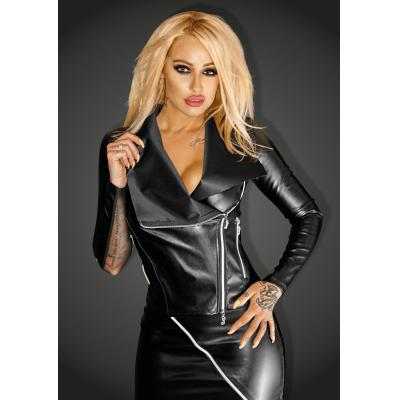 NOIR Handmade - f123 Ecoleather jacket with silver zippers SNOBBISH – XL -