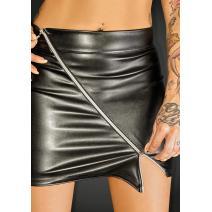 NOIR Handmade - f126 Ecoleather miniskirt with 2- way zipper RULER – XL - 5902175347667