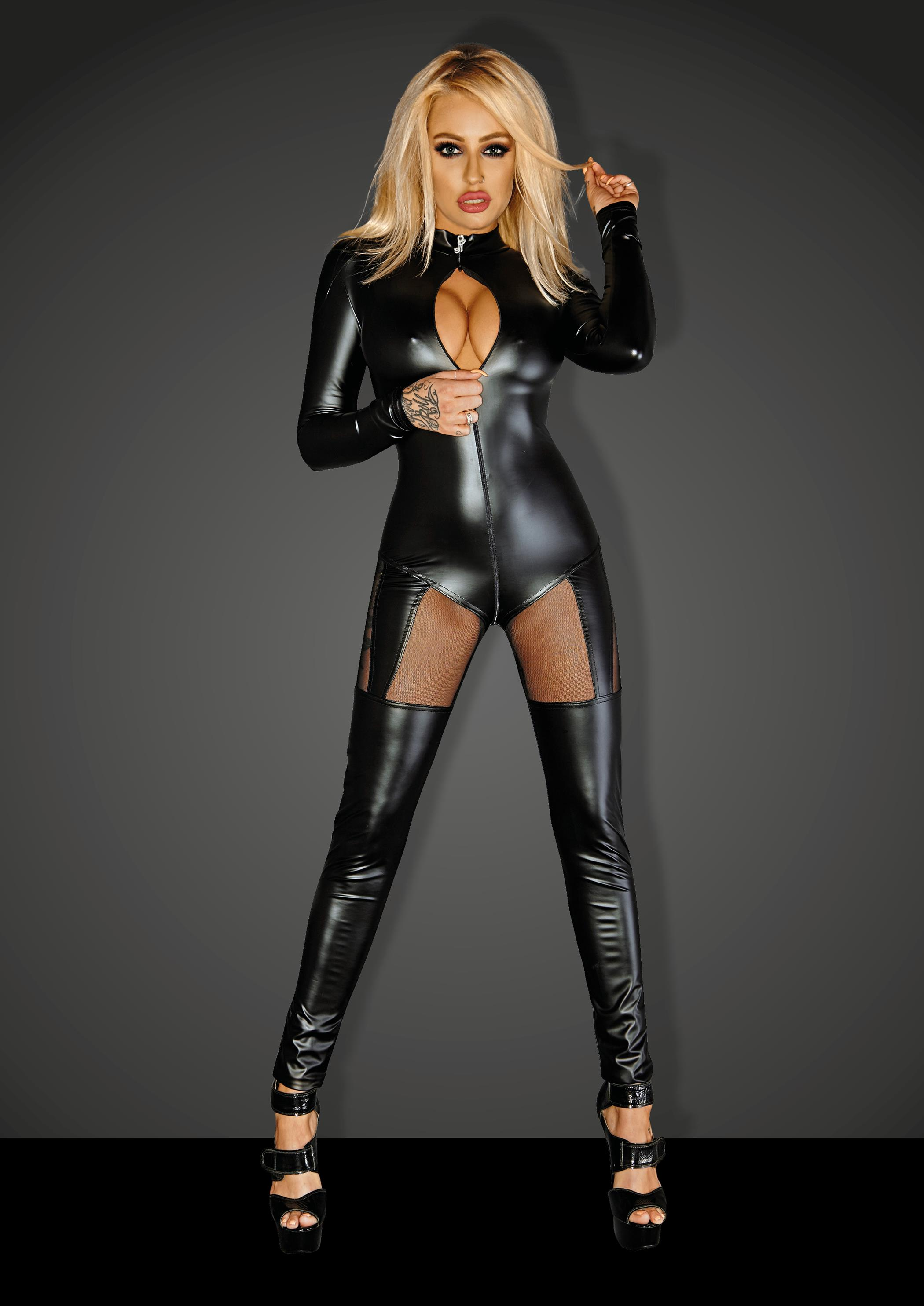 NOIR Handmade - f136 Powerwetlook overall with tull inserts and 3- way zipper – XL -