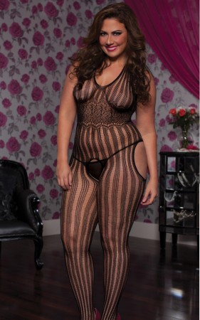 H3014P - Ultra Sexy Bodystocking - Plus Size (Black) - 6946535466161