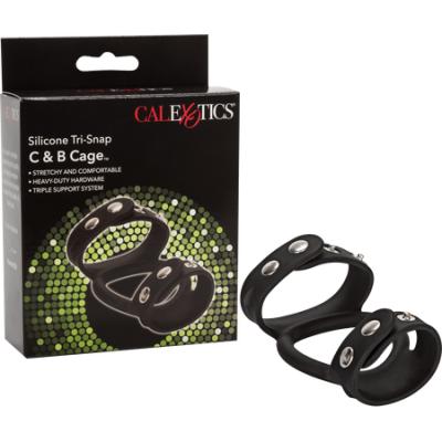 SE-1413-30-3 - Silicone Tri-Snap C & B Cage (Black) - 716770087430